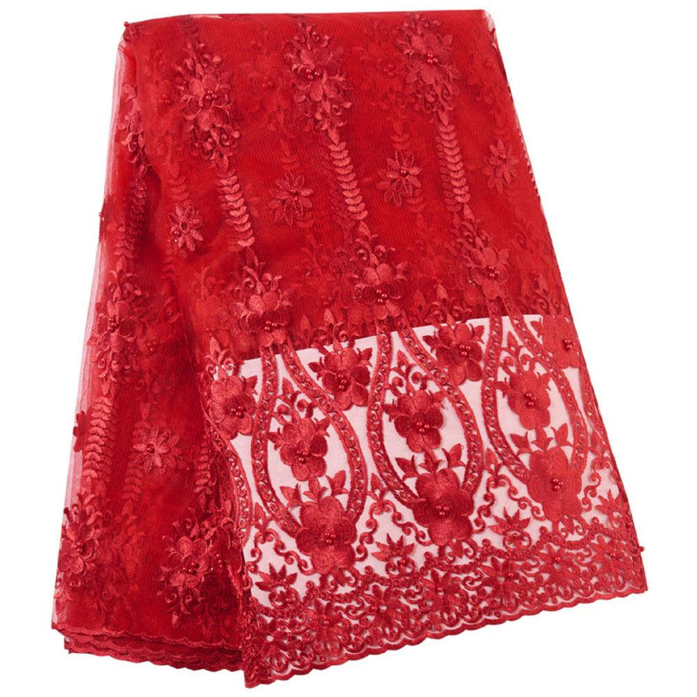 High Quality 2019 African French Lace Red Fabric Swiss Voile Lace In Switzerland With Stones Lace Fabric