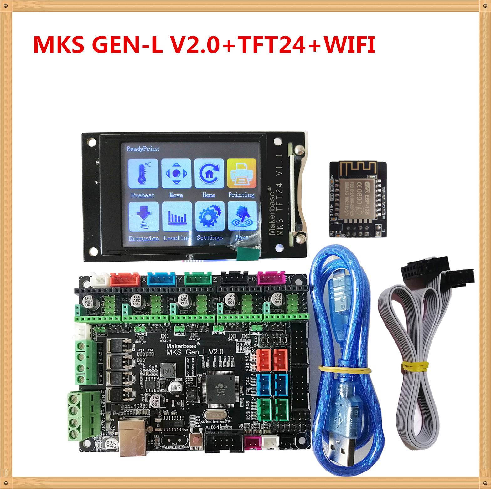 MKS GEN L V2.0 + MKS TFT24 LCD Touching Screen Cheap 3D Electronic Card TFT 2.4 Inch Display Openbuilds For 3d Printer Starter