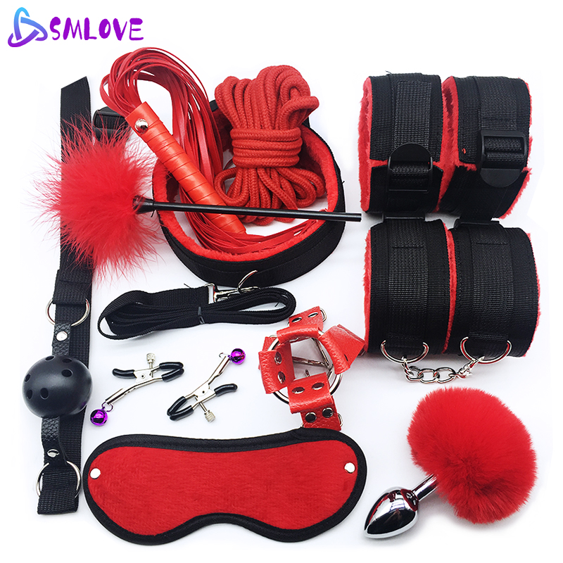 SMLOVE Sex Handcuffs Collar Whip Gag Nipple Clamps BDSM Bondage Rope Erotic Adult Sex Toys For Woman Couples Anal Butt Plug Tail