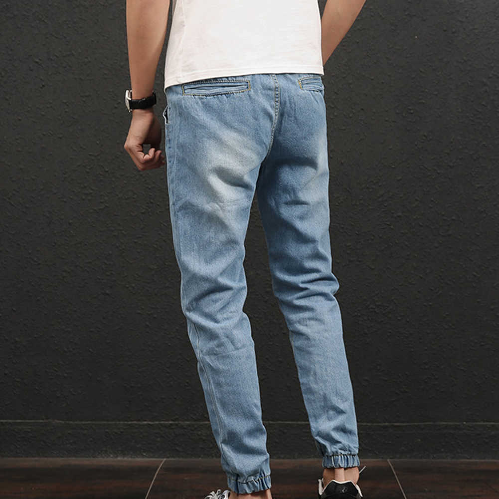 Plus rozmiar moda na co dzień wygodne męskie Jogger Stretch sznurkiem w pasie pasuje długie spodnie dżinsowe dżinsy wąska odzież dla mężczyzn