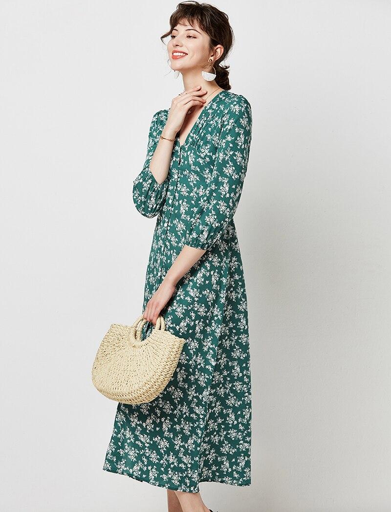 Autumn Elegant Floral Print Midi Dress Women 19 V Neck Button Casual Tunic Shirt Dress Lantern Sleeve Split Boho Long Dress 12