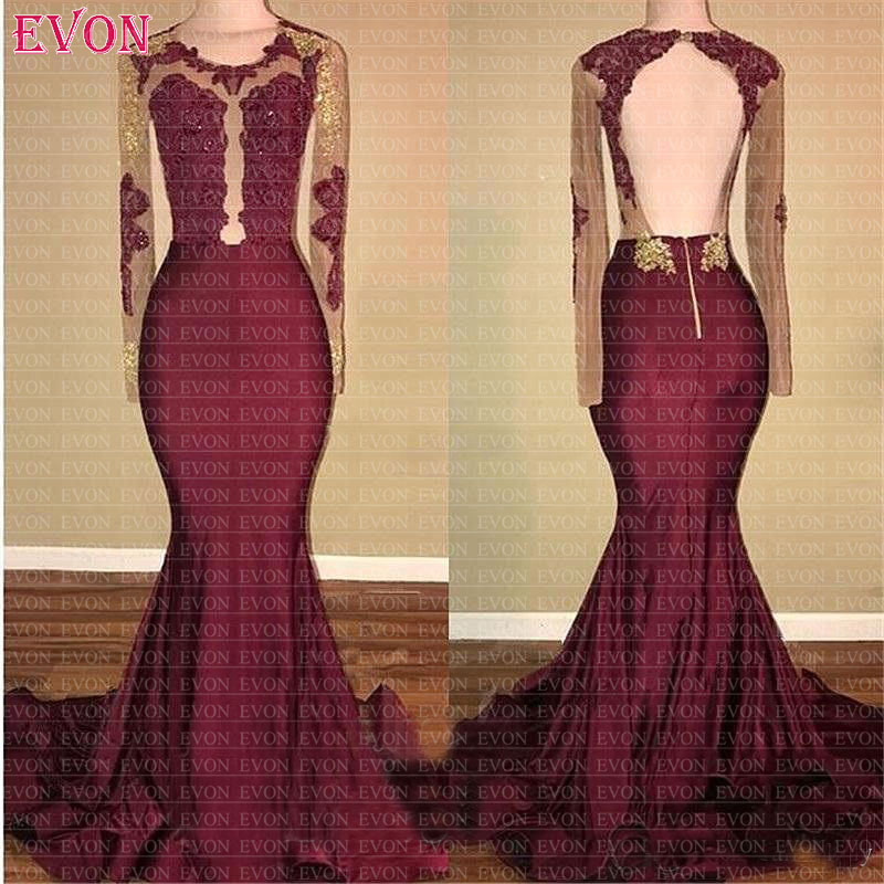 Vestido De Fiesta De Noche Burgundy Long Sleeves Mermaid   Prom     Dresses   2019 Sexy Backless Lace   Prom   Gowns Custom Made