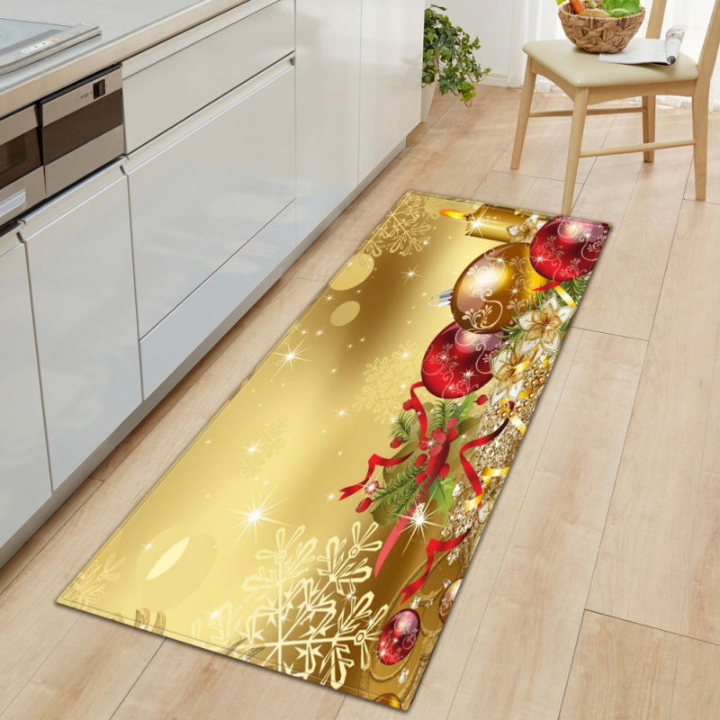 Christmas Pattern Rectangle Area Rug Kitchen Living Room Decorative Floor Mat Decor Supplies Christmas Decorations For Home