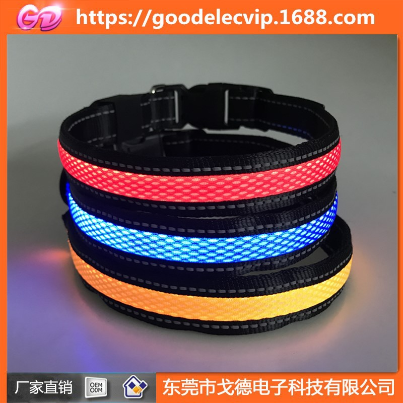 USB Charging Neck Ring Double-Sided Exposure LED Large And Medium Small Dogs With Mesh Dog Traction Rope Luminous Collar Glowing