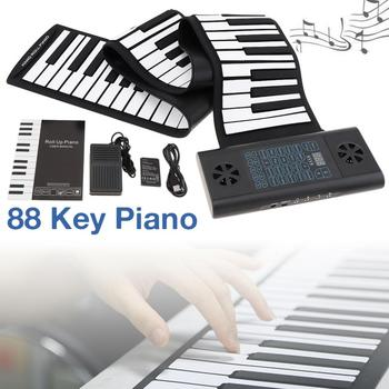 цена на 88 Keys MIDI Roll Up Piano Rechargeable Electronic Portable Silicone Flexible Keyboard Organ Built-in2 Speakers Electronic Organ