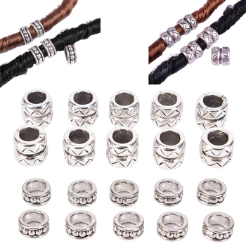 10pcs BIG Hole Charms Cask Metal Alloy DIY Beads Tibet Dread Dreadlock Beads ,6mmx12mm Charm For Bracelets Making image