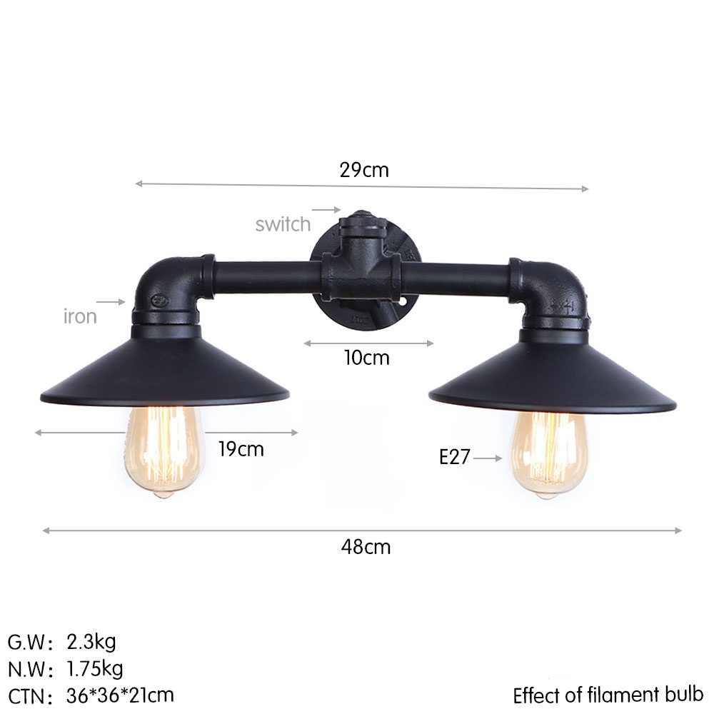 ロフト装飾エジソン灯壁燭台ヴィンテージ工業用水配管二重壁ランプは Led ウォールランプサイドの家庭の照明