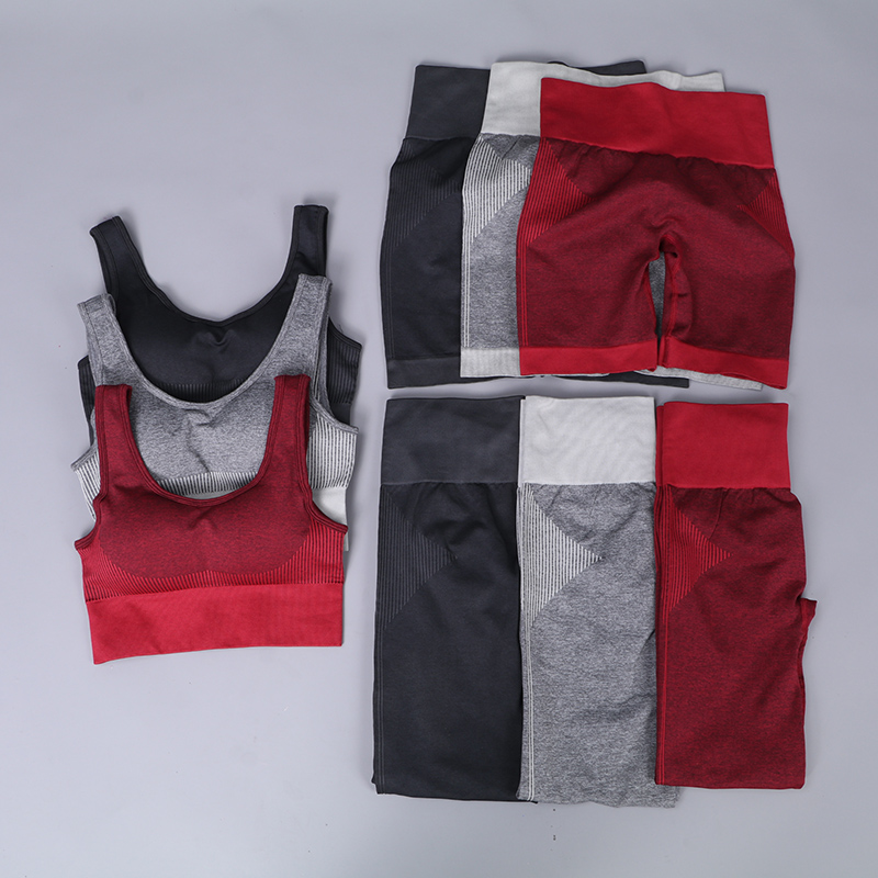 New 3 Pcs Set Women Summer Seamless Yoga Set Fitness Sports Suits GYM Clothing Yoga Bra High Waist Shorts Workout Pants Leggings