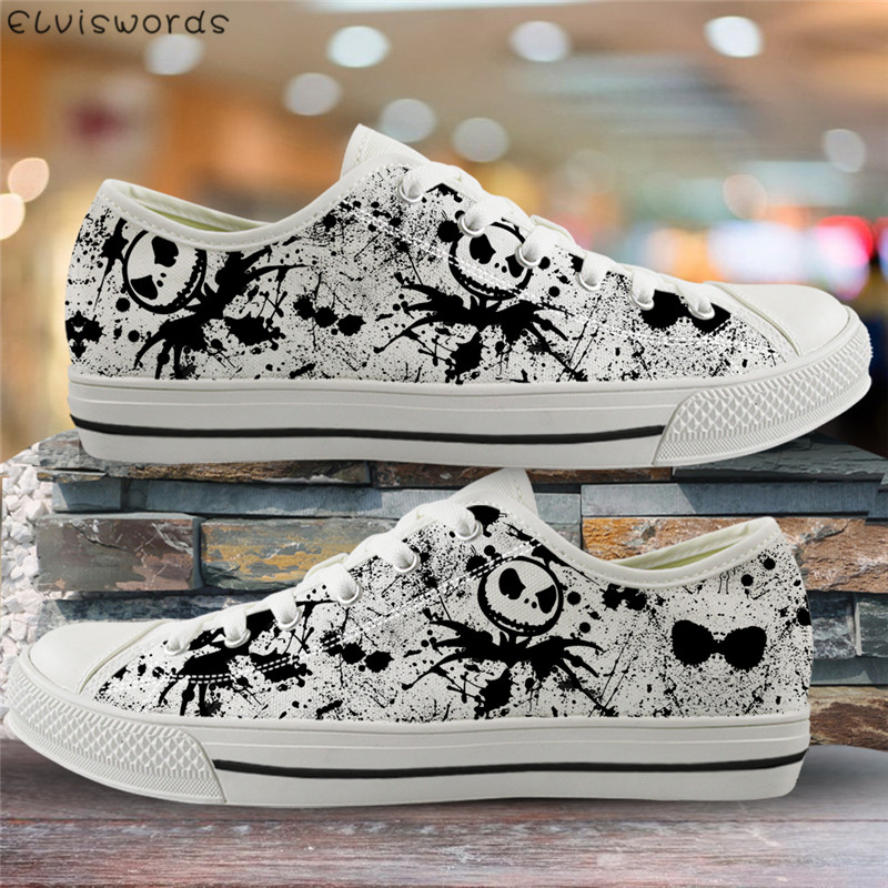 ELVISWORDS The Nightmare Before Christmas Print Women Flats Light Lace-up Vulcanize Shoes For Ladies Girls Canvas Low Top Shoes