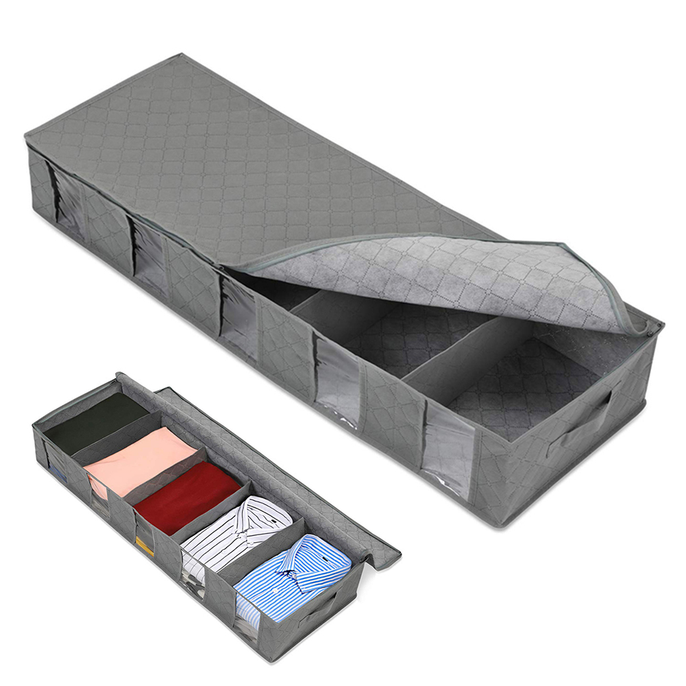 Under Bed Storage Bag Large Capacity Clothing Containers 5 Clear Window Clothing Shoes Blankets Sweaters Storage