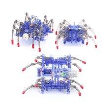 DIY Электрический робот паук игрушка-головоломка Электрический ползать животных наука игрушка модель электронная сборка развивающая игруш...