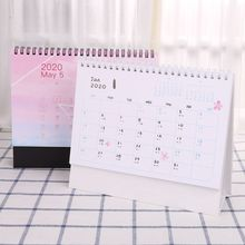 цена 2020 Dreamy Colorful Desktop Standing Coil Paper Calendar Memo Daily Schedule Table Planner Yearly Agenda Organizer