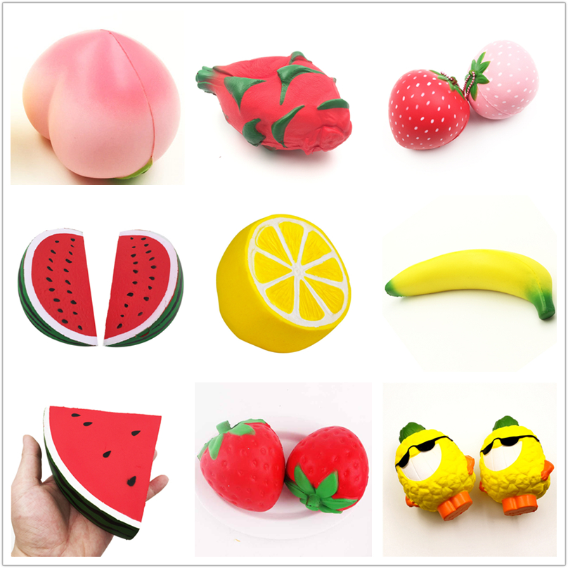 Soft Scented Slow Rising Squishy Jumbo Fruit Lemon Banana Peach Dragon-Fruit Strawberry Watermelon Pinapple Squishy Toys