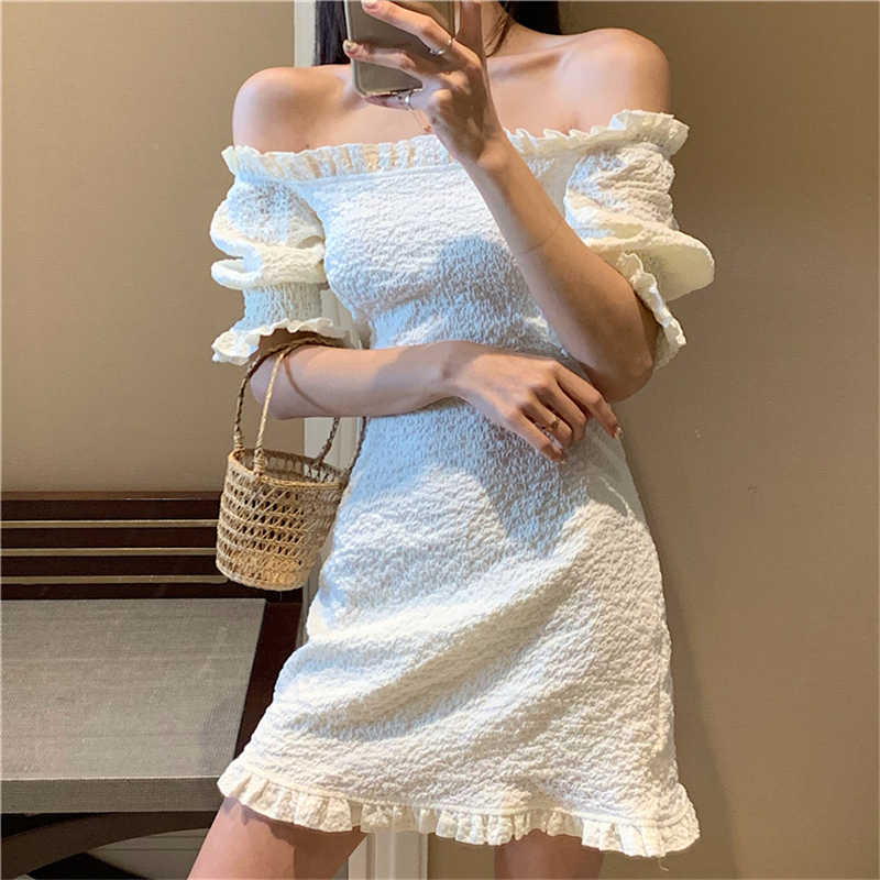 Summer Chic Women Dress Fashion Slash Neck Causal Ladies White Dress 2020 Ruffles Short Sleeve Sexy Elegant Mini Pencil Dress