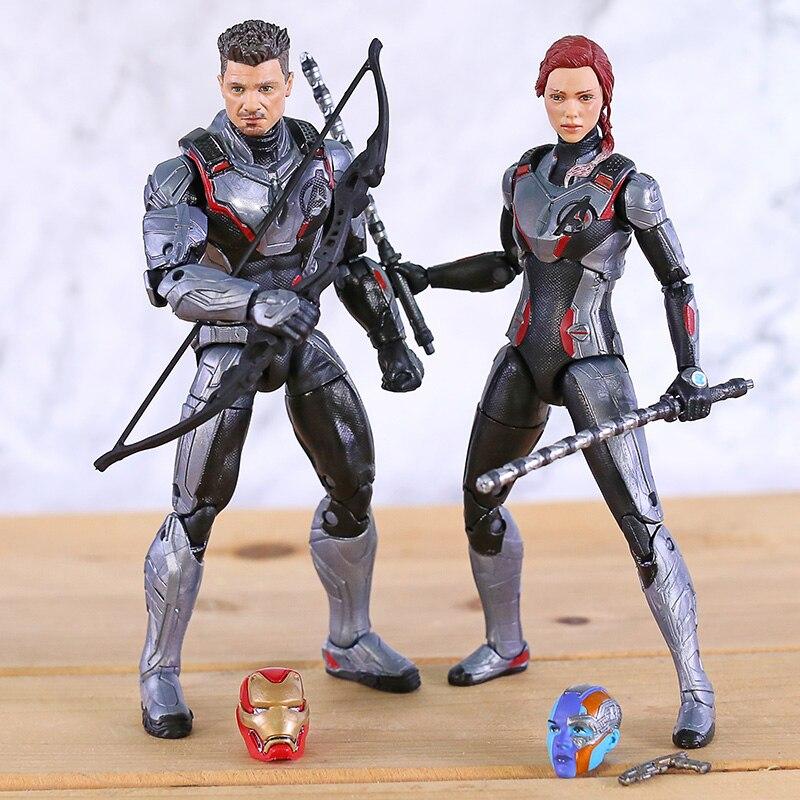 Original Marvel Legends Movie Avengers 4 Endgame Hawkeye Iron Man Black Widow Nebula Action Figure Heads Toys