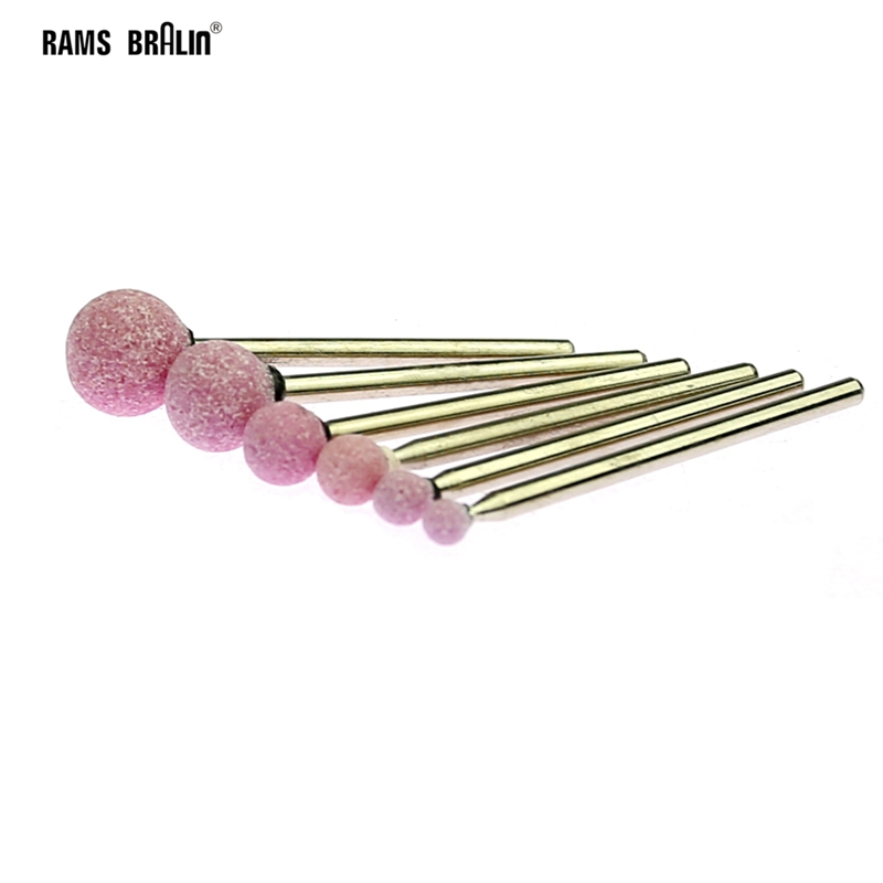 6 Pcs 2.35mm Shaft Mounted Point Ball-shaped Ceramic Grinding Head For Nail Dental Polishing