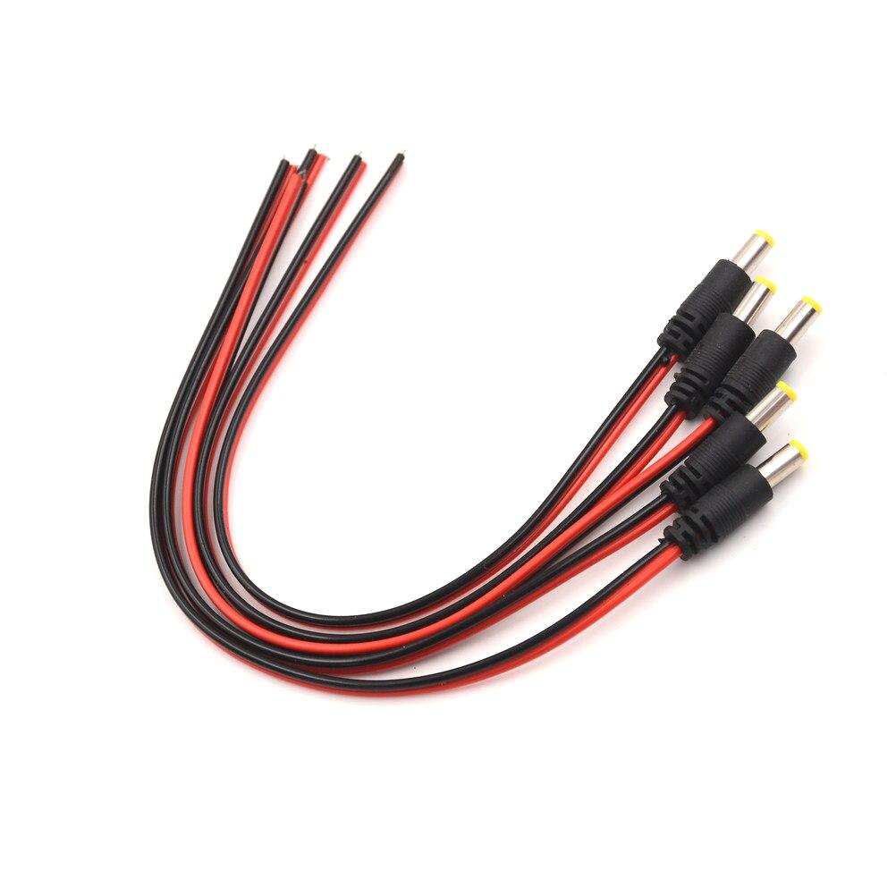 5Pcs 5.5*2.1mm Male Plug DC Power Cable Jack LED Power Plug For Security Camera Supplies Wholesale