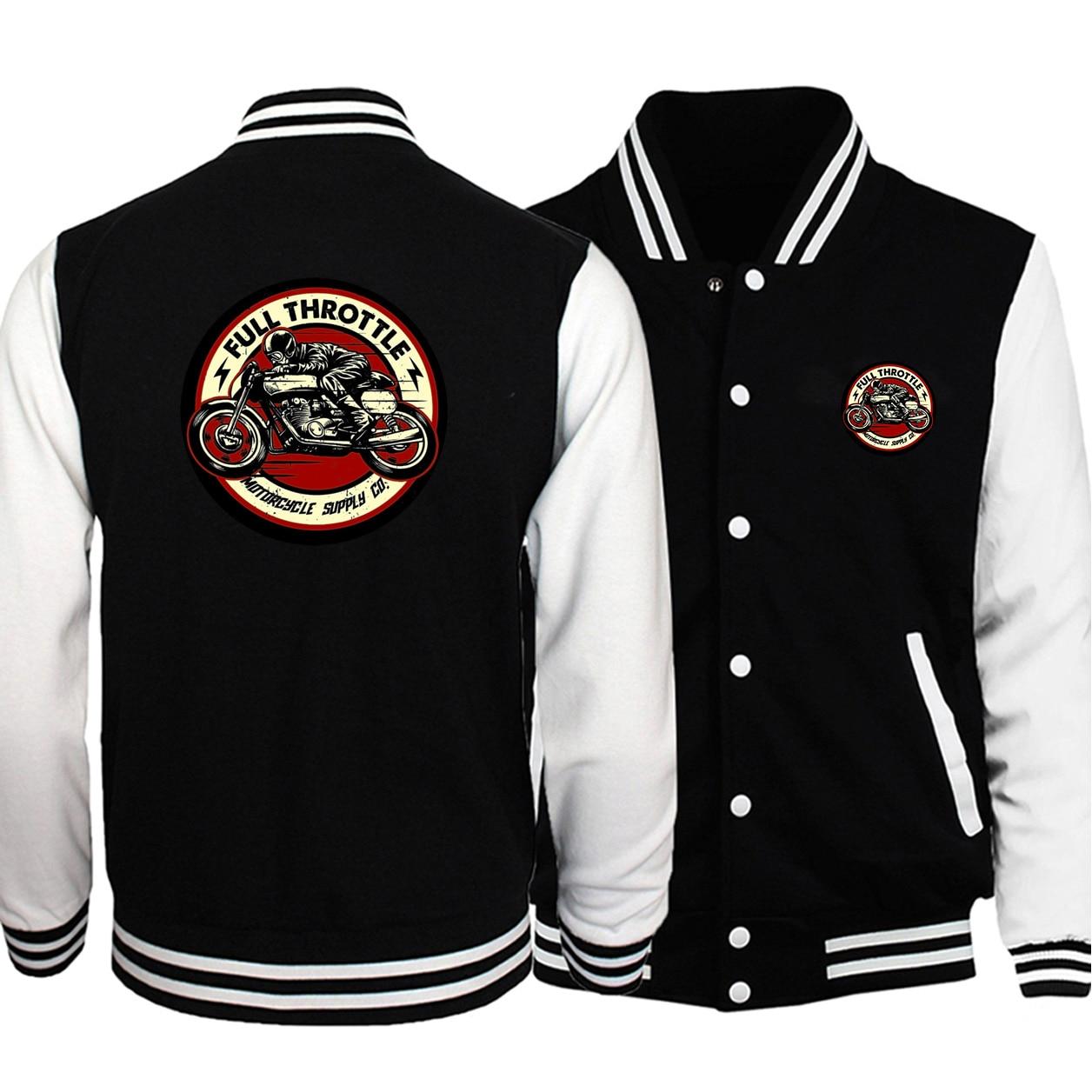 Full Throttle Cafe Racer Rockabilly Biker Baseball Uniform Men Coats Autumn Fleece Warm White Black Bomber Jacket Streetwear