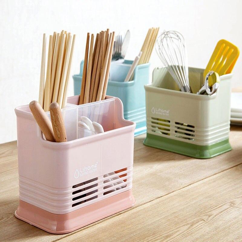 Kitchen 4 Grid Hollow Chopsticks Cage Creative Kitchen Chopsticks Cutlery Drain Storage Chopsticks Stand