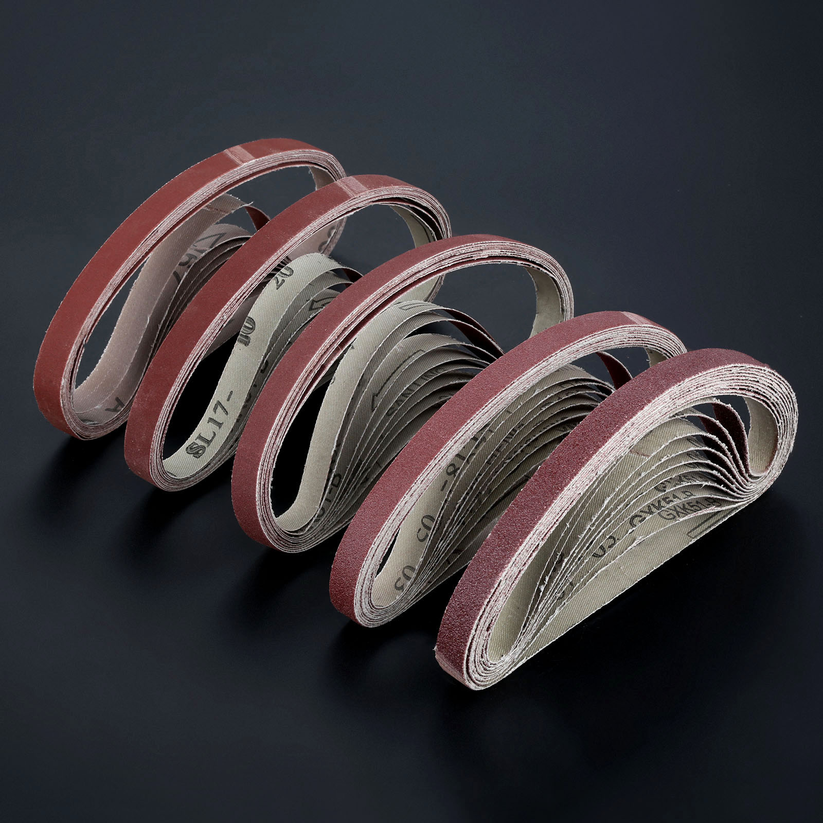 10Pcs/set 60 To 600 Grit 15mm X 452mm Sanding Belts For Angle Grinder Sanding Belt Adapter Polishing Sanding Grinding