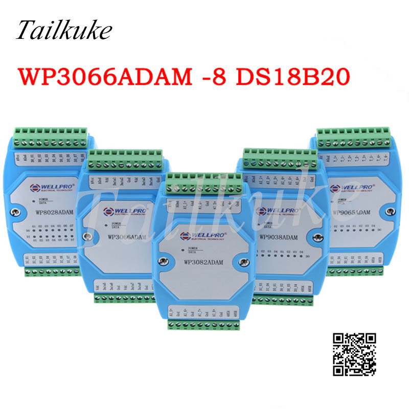 DS18B20 Temperature Acquisition Module 8 RS485 MODBUS Communication -WP3066ADAM