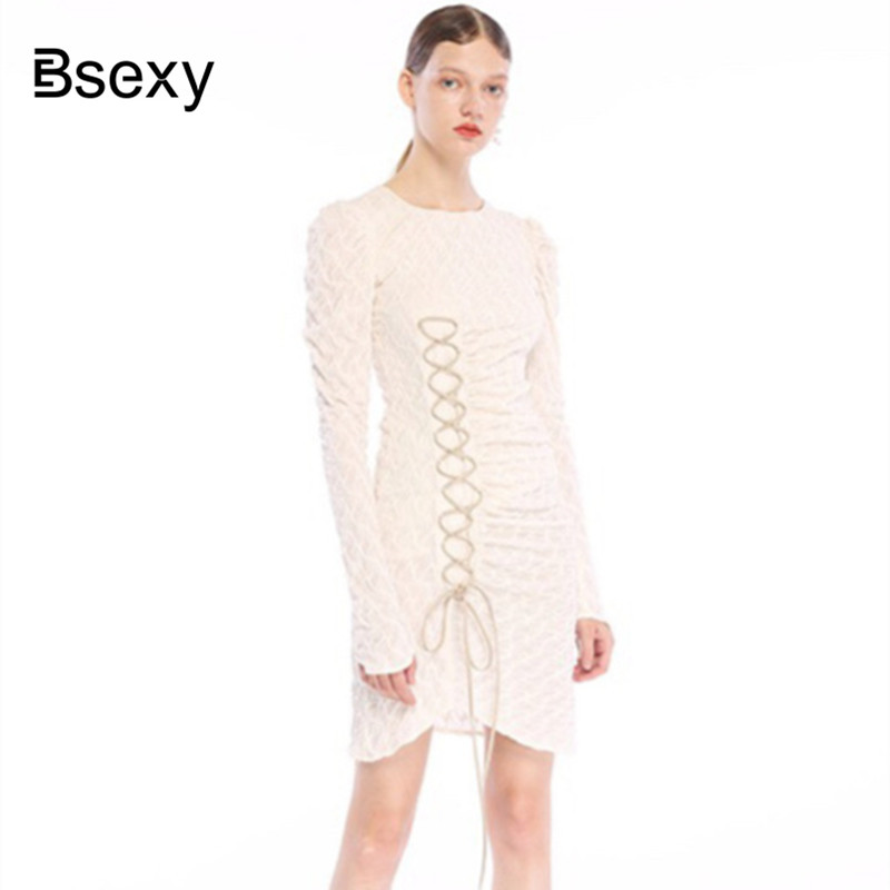 2019 Autumn Women Striped Long Sleeve Lace Up Irregular Short Dress Hip Pack Slim Tight Fitting Party Dress image