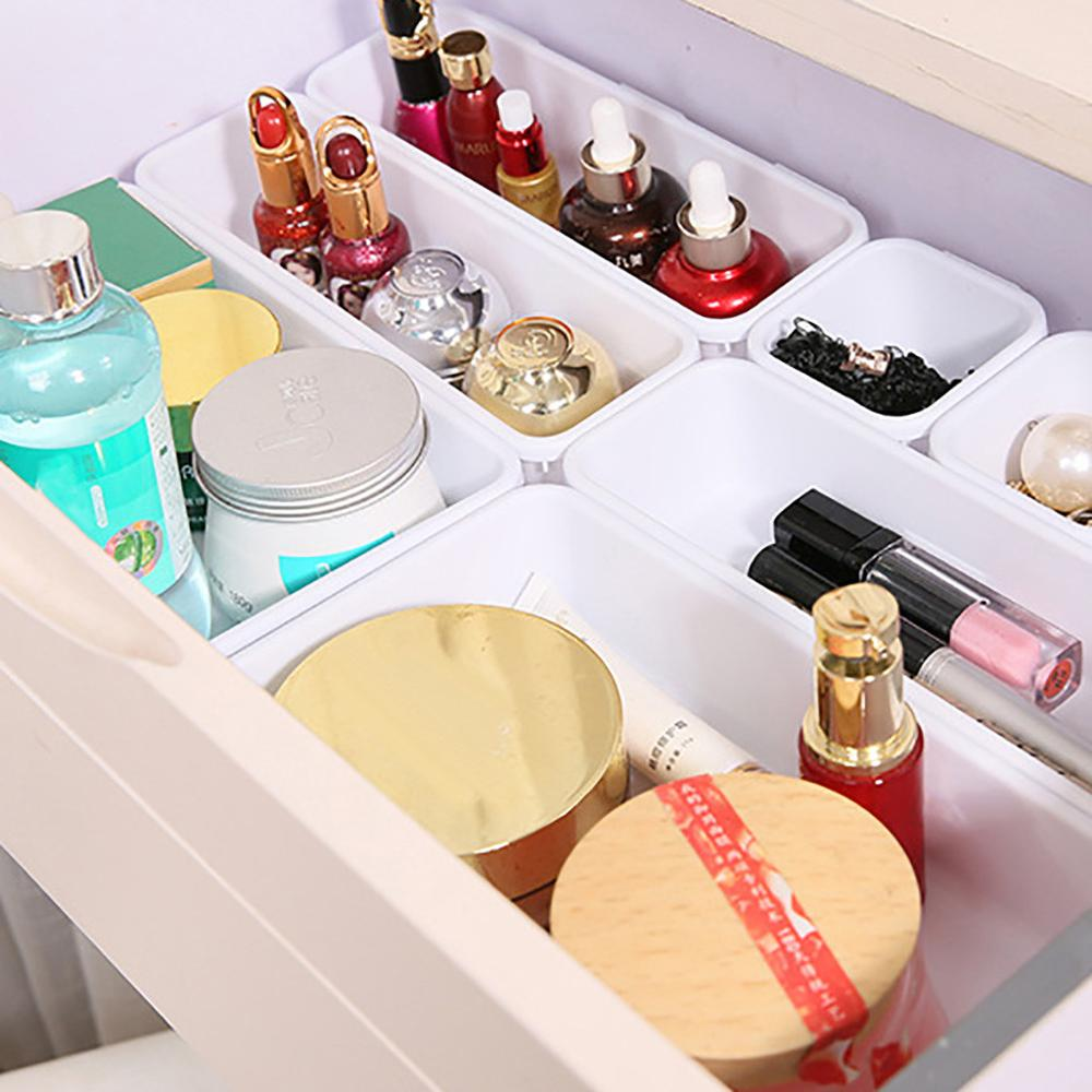 Drawer Storage-Box Partition Drawer-Organizers-Storage Interlocking Bathroom Narrow Plastic