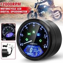 8 18V Universal Digital Display 12000RPM Motorcycle LCD Digital Speedometer Tachometer Odometer Gauge Cafe Racer Motor