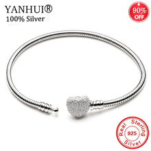 YANHUI Authentic 925 Solid Silver Crystal Heart Shape Snake Chain Fit Original Charm Bracelet for Women Girls DIY Jewelry Making authentic 925 sterling silver bead charm snake chain fit original pans bracelet with glue heart clasp for women diy jewelry