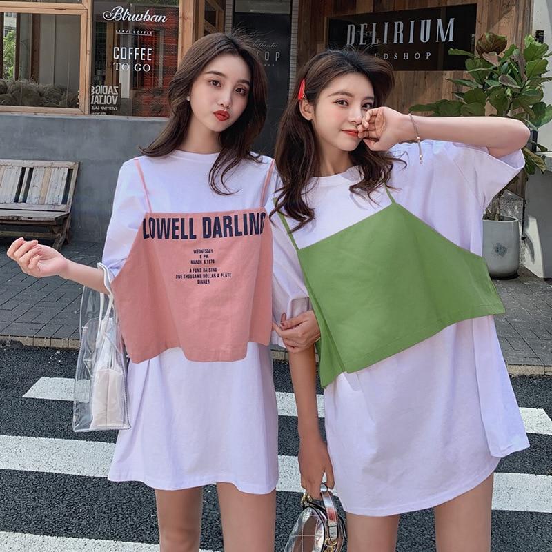 2019 Online Celebrity Two-Piece Set Half-sleeve Shirt Medium-length T-shirt Dress Top Shirt With Narrow Straps Set