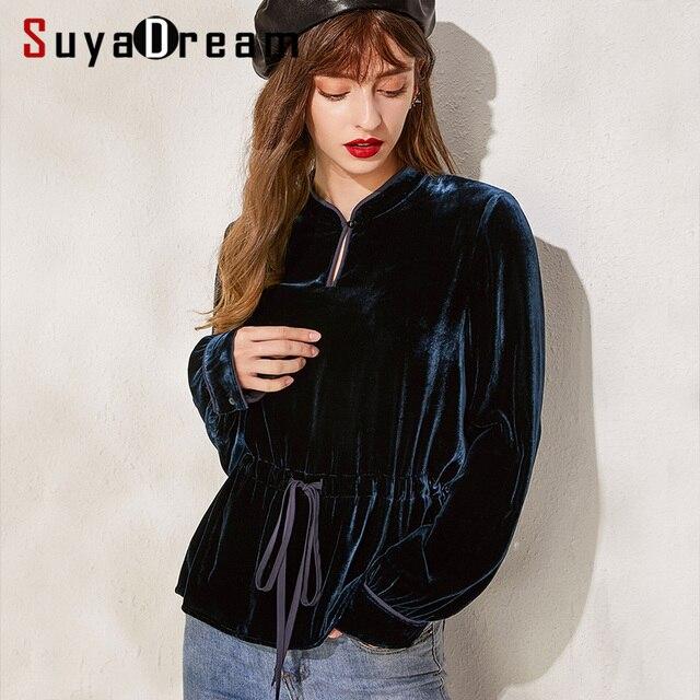 SuyaDream Long Sleeved Mandarin Collar Belted Waist Velour Blouses Solid Office Lady Blouse Shirt 2019 Autumn Shirt