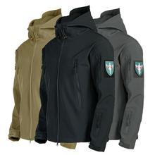 Армии, материал-Soft Shell Shark Skin, S-4XL Тактический ветрозащитный Водонепроницаемый куртки Для мужчин летная куртка пилота капюшон в стиле «милит...