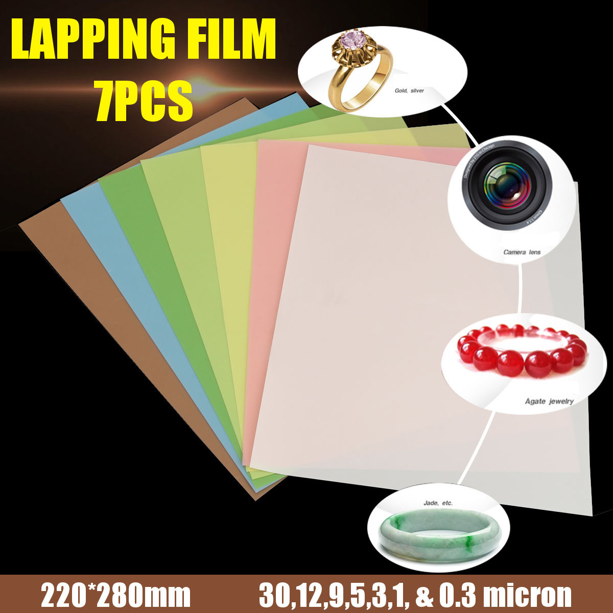 7pcs Fine Polishing Supplies Lapping Film Sheets 1500~12000 Grits For Jewelry
