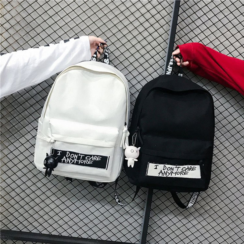 2019 Women Fashion Canvas Backpack Doll Pendant Travel Female Shoulder Bag Harajuku Schoolbag For Teenager Girls Mochila Bagpack