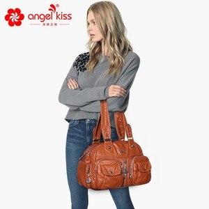 Image 5 - Angelkiss ブランド PU 洗浄ハンドバッグ女性ショルダーバッグホーボーのハンドバッグ高品質のメッセンジャーバッグの女性の革ハンドバッグ