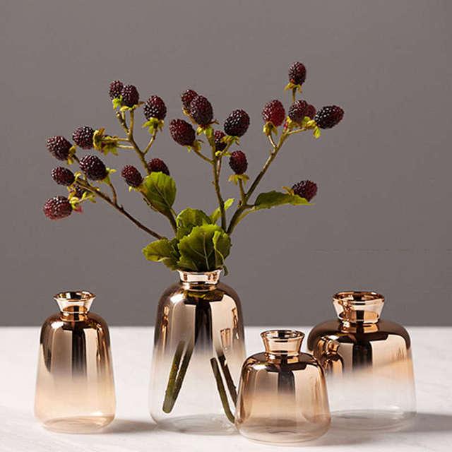 New Gradient Golden Glass Vase Nordic Electroplated Flower Vases For Home Decor Dried Flower Bottle Bar Restaurant Decoration 2