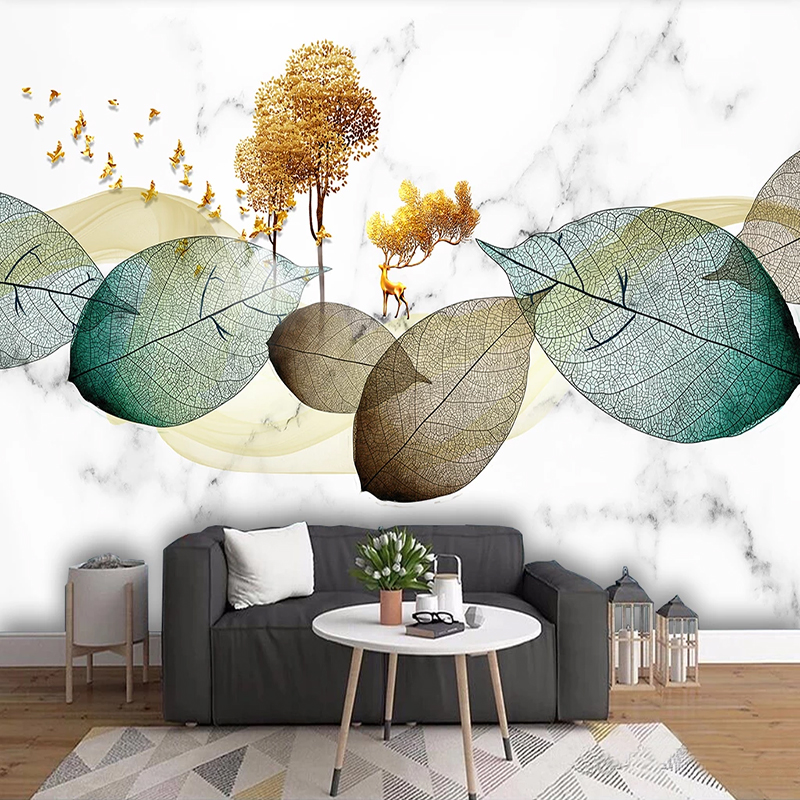 Custom Wall Cloth Modern Abstract Ink Painting Leaves Wallpaper Living Room Bedroom Background Wall Covering 3D Home Deco Muralr