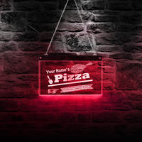 Authentic Italian Pizza Shop LED Acrylic Sign Board Custom Name Lighting Decor Wall Art Personalized Pizzeria Neon Wall Lamp