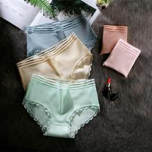 Famous fashion cotton hollow lace underwear women candy thread breathable comfortable briefs