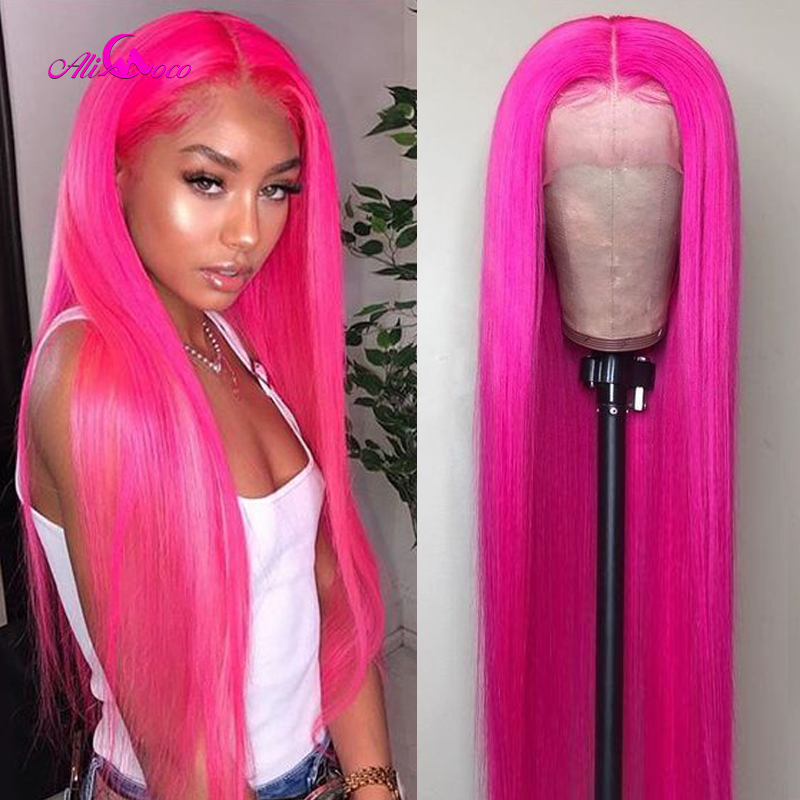 Ali Coco 13X4 Brazilian Straight Lace Front Wig 150% Density Red Pink Lace Front Human Hair Wigs Pre Plucked Hairline Baby Hair