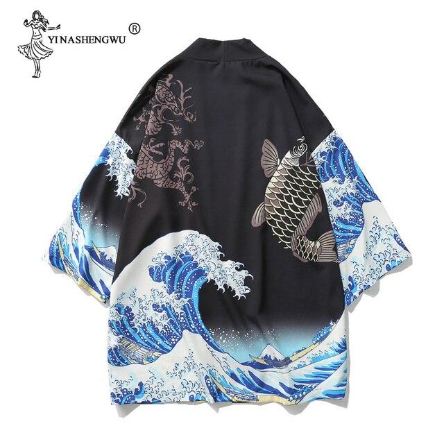Kobiety kardigan Harajuku japońskie Kimono lato karp drukuj luźna koszula topy Casual kobieta mężczyzna kimona płaszcz para Yukata kimona