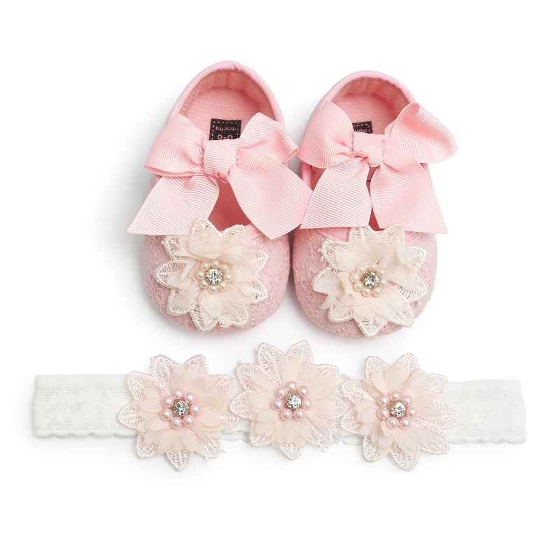 Baby Princess Party Decor Baby Girl Infants Lace Flower Princess Shoes Floral Headwear Headband Photography Props Set
