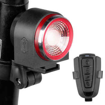 LED USB Rechargeable Rear Bike Light Auto Brake Detected Bicycle Tail Lamp Wireless Remote Control Cycling Taillight Alarm Bell