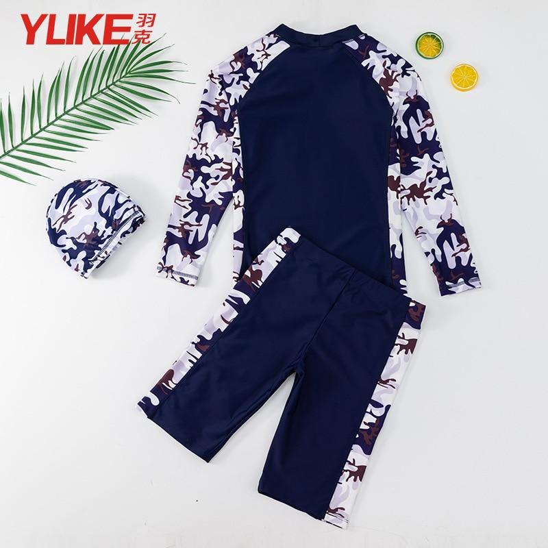 KID'S Swimwear BOY'S Split Type Swimming Trunks Set Boy Big Boy Long Sleeve Tour Bathing Suit Teenager Sun-resistant Swimwear Pr