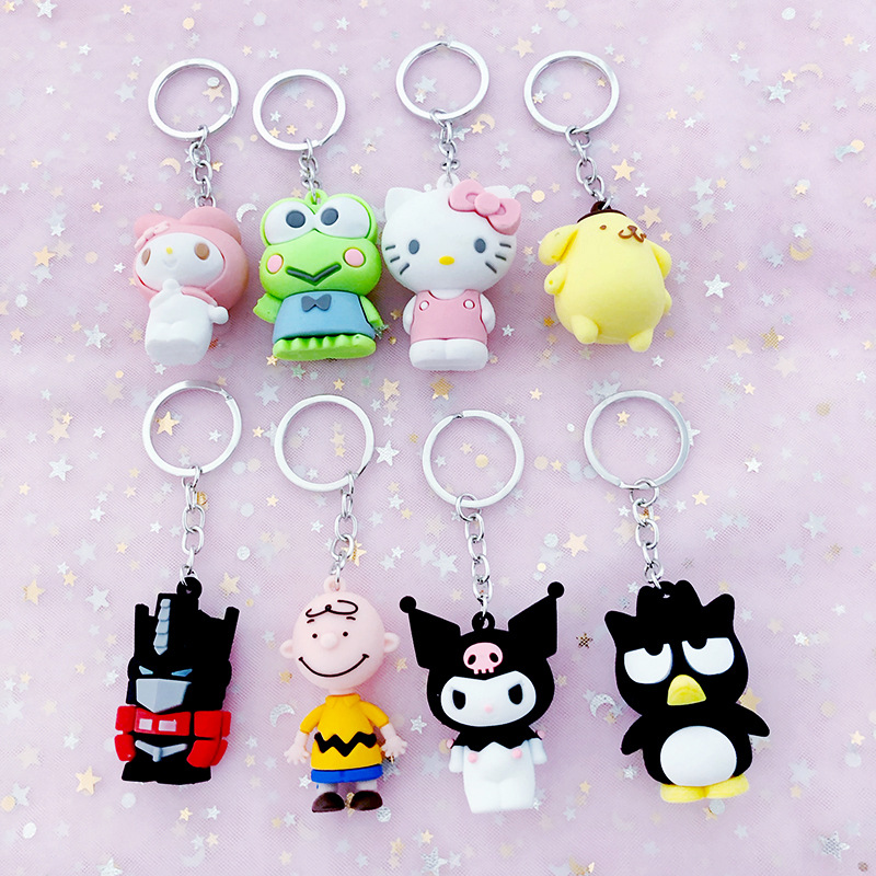 Cartoon Cat Keychain Cute Kuromi KT Unicorn Frog doll keychains car keyring student bag key Rings pendant creative gifts(China)