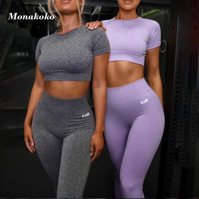 Zomer Sport Set Vrouwen Grijs Paars Twee 2 Stuk Crop Top T-shirt Hoge Taille Leggings Sportsuit Workout Outfit Fitness Yoga sets