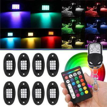 8 PCS RGB LED Rock Light Underglow Neon LED Light Kit for Jeep off-Road Truck Break Rock Light Multicolor Underglow Neon Light