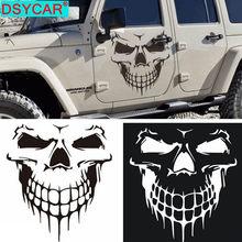Dsycar 1 pçs grande tamanho 59x53cm cabeça do crânio adesivos de carro e decalques vinil reflexivo estilo do carro auto motor capô porta janela carro