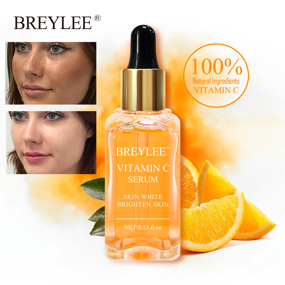 BREYLEE Vitamin C Hyaluronic Acid Serum Remove Melanin Brighten Face Care Fade Freckle Ageless Whitening Serum Facial Skin Care