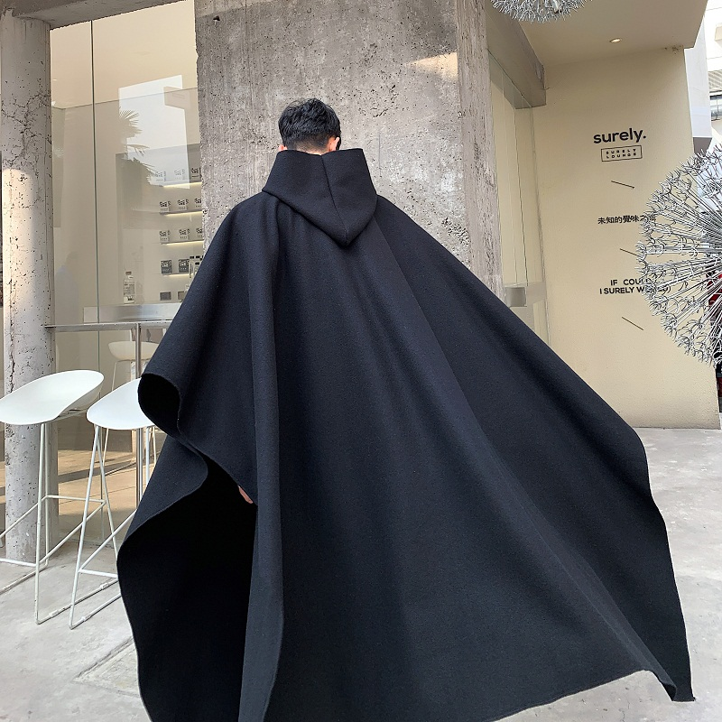 Men Japan Street Style Hooded Robe Cloak Trench Coat Outerwear Male Gothic Punk Fashion Show Pullover Long Jacket Overcoat